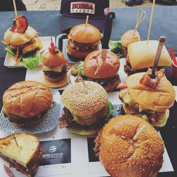 Absolutely had to give a shout out to @steni1 for this shot of some amazing looking #BUBBAburgers at the @worldfoodchampionships! All of these look SO tasty!! Which one would you order?  #burgers #cookout #grilling #grill #American #burgerlife #burgerlove #burger #cheeseburger #cheese #bacon #baconburger #cheeseburgers #yum #delicious #grillmarks #chef #grillmaster