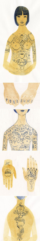 """Fat Tats"" - watercolors by Monica Ramos <3"