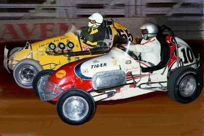 In a thriller, Bryan Cunneen in the locally built Linklater Holden #55 uses all his track-craft to defeat a hard charging Sherman Cleveland USA#10 circa 1966 at the Royale...