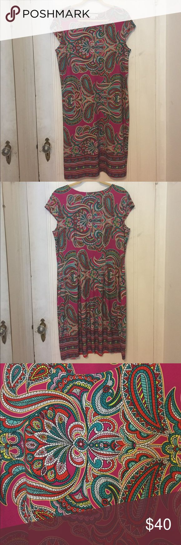 Colorful Liz Claiborne Sheath Everyone will know that you're ready for Spring in this sheath dress in pinks, greens, yellows and oranges. It is NWOT, I've never worn it and it's in perfect condition. Liz Claiborne Dresses