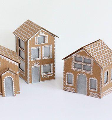 Cardboard gingerbread houses / Mézeskalács házikók kartonpapírból / Mindy - craft tutorial collection
