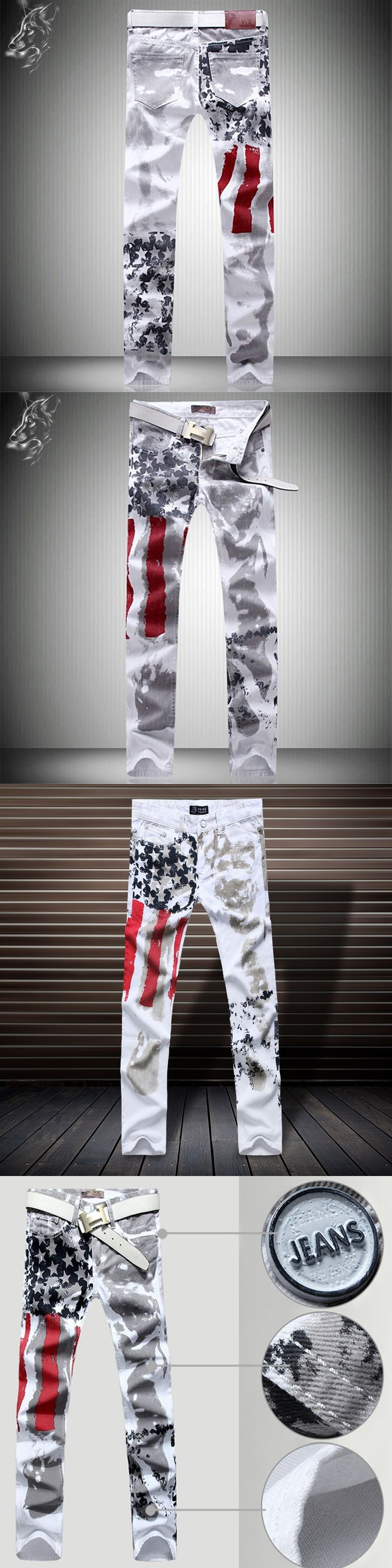 2017 Spring The New Men's United States Flag Personality Leisure Tide Products Straight Slim-type Jeans  Z002