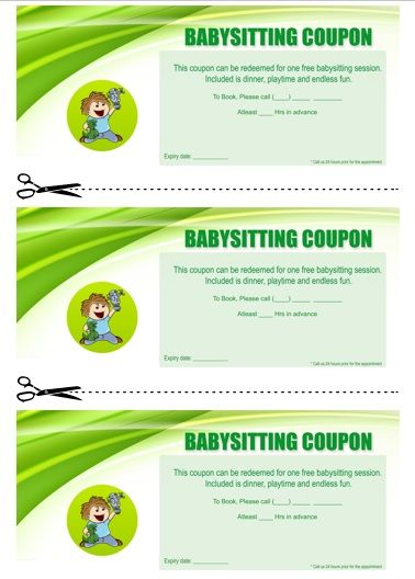 Collection of eyecatching Free Printable Babysitting Coupon Book Templates for you to download in Microsoft word format and print them for free.