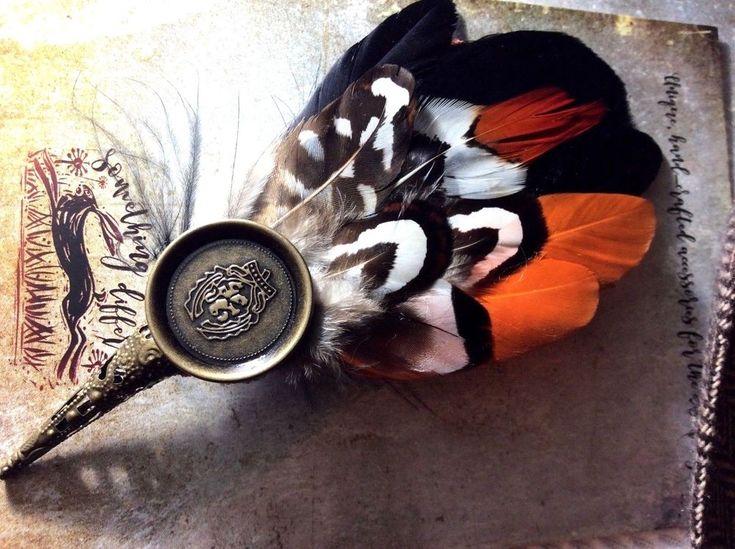 Ascot Buttonhole wedding feather pin hunting hat men's ladies orange black m l