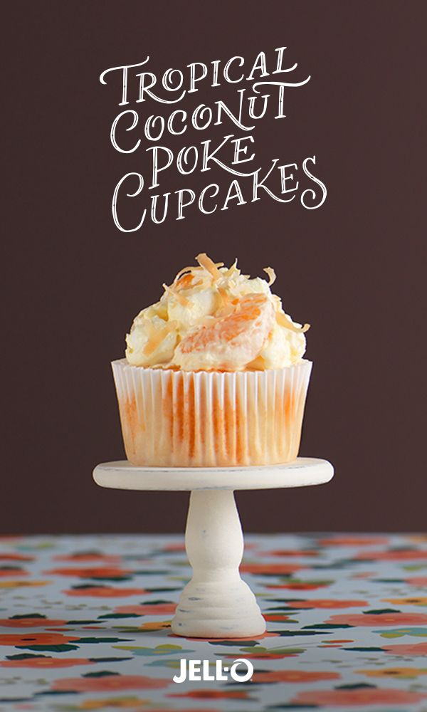 Serve up a spring break vacation with Tropical Coconut Poke Cupcakes. Get started by picking up some JELL-O Orange Flavor Gelatin, JELL-O Coconut Cream Flavor Instant Pudding, JETPUFFED Miniature Marshmallows, BAKER'S ANGEL FLAKE Coconut and white cake mix. Spring break can be just a poke away with Tropical Coconut Poke Cupcakes.