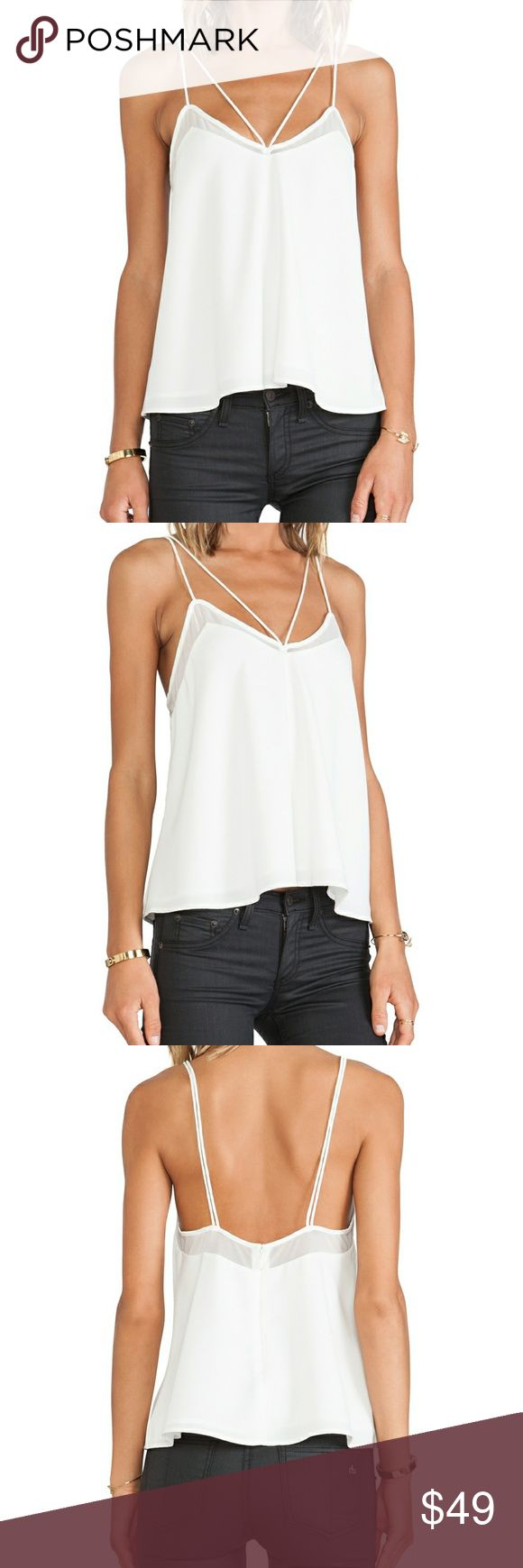FINDERS KEEPERS At It Again Top in White FINDERS KEEPERS At It Again Top in White. BNWOT. Size XS. Slinky top with super thin srrappy detailing and sheer mesh contrast panels along the bust. Flared silhouette. Hidden center back zipper closure. #revolve #reformation #missguided #allsaints #alice + olivia #Flynn Skye #one teaspoon #lf #lovers + friends Finders Keepers Tops Tank Tops
