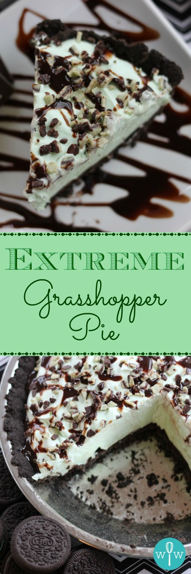 Extreme Grasshopper Pie - A great holiday or anytime frozen dessert recipe! A chocolate cookie crust topped with mint chocolate ganache, a fluffy creme de menthe filling and chocolates. | www.worthwhisking.com
