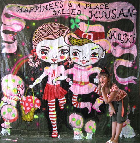 Lustik, Katja Tukiainen, Happiness is a place called Kuusankoski, 2010, Alkyd on tarpaulin, Waterland Festival, Kouvola Finland