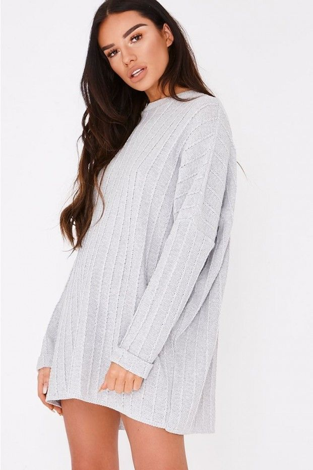 sarah ashcroft grey cable knit oversized jumper dress | In The Style