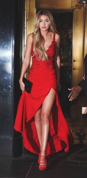 Red dress looks up to