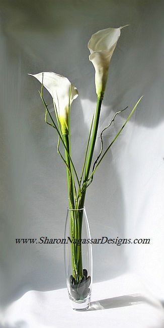Calla lilies/branches tall centerpieces? :  wedding branch centerpiece calla lily centerpieces tall centerpieces LargeRealTouchLatexCallaLilyGrassesCenterpiece