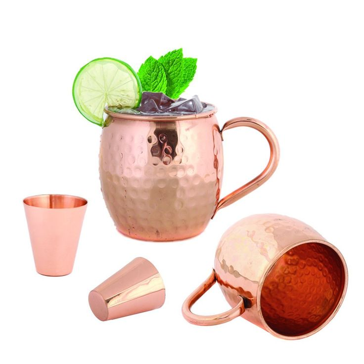 Set of 2 Hammered Copper Moscow Mule Mug 16 Ounces by FoodieAid - 2 Copper Shot Glass Included - 100 Percent Pure Copper Barrel Cup With No Inner Lining * See this great product.