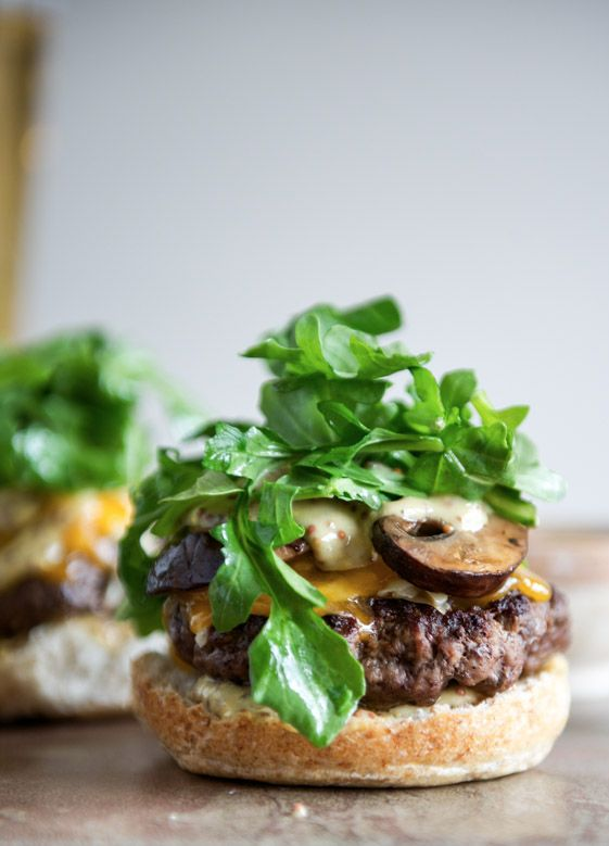 Burgers with Sautéed Mushrooms, Arugula and Dijon Aioli |  howsweeteats.com