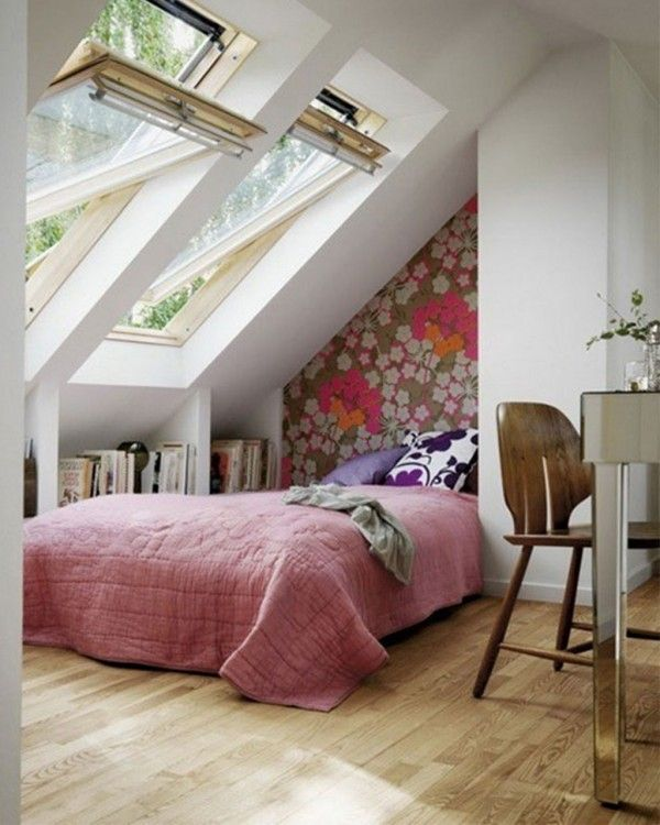 cool bedroom space, i like how open it is for a smaller unusual sized area