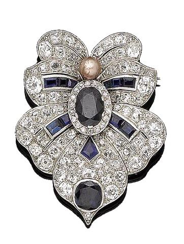 A pearl, sapphire and diamond brooch, circa 1930 Designed as a stylised lotus flowerhead, centrally-set with an oval-cut sapphire within an old brilliant-cut border and with a pearl of pink tint accent, to cushion-shaped diamond petals highlighted with cushion, kite-shaped, and calibré-cut sapphires, diamonds approx. 4.65cts total, pearl untested, length 4.6cm, cased by Roberstons Ltd Jewellers London