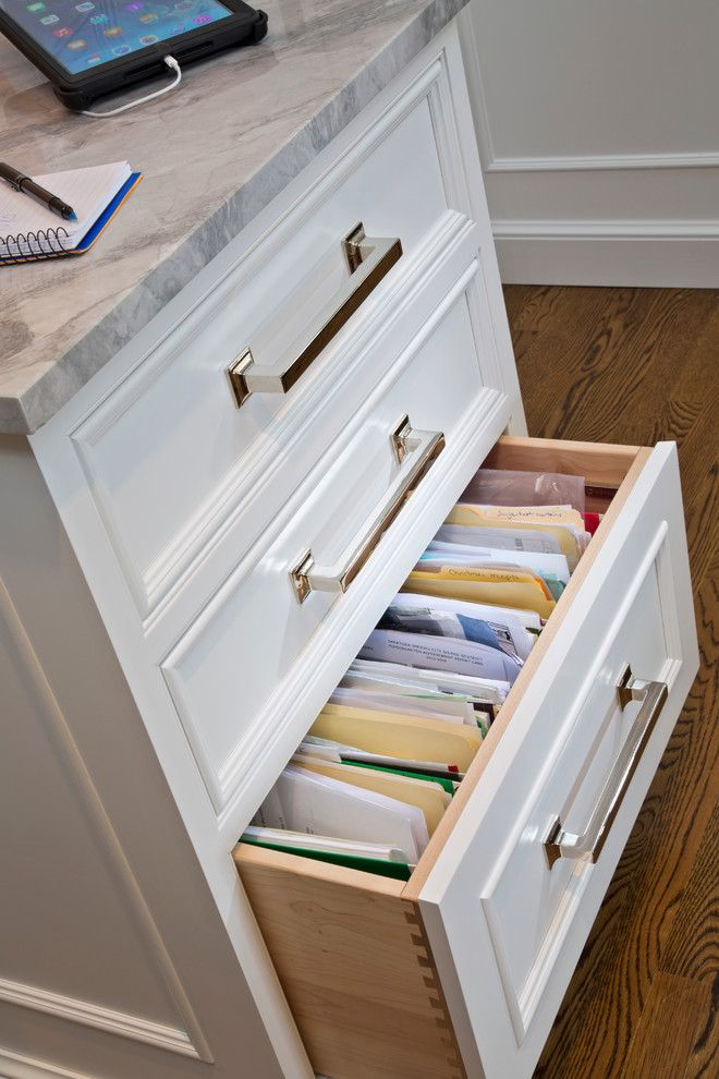 Lateral File Cabinets Kitchen Transitional with Banquette Bar Beams Coffered Ceiling Family Command Center File Drawers Grey Celing