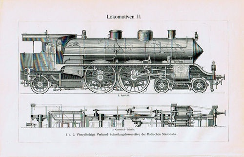 Antique Print Train Engines-Locomotives-Lokomotiven Germany Meyers 1905 $9.99
