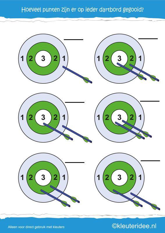 Hoeveel punten  op ieder dartbord, kleuteridee.nl , rekenen met kleuters, how many points, free printable.