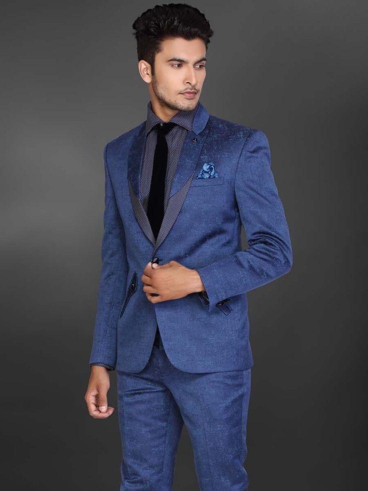Синий мужской костюм-двойка   рубашка с галстуком