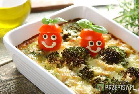 Zapiekanka z brokułami, grillowanym kurczakiem i mozzarellą - przepis z portalu przepisy.pl