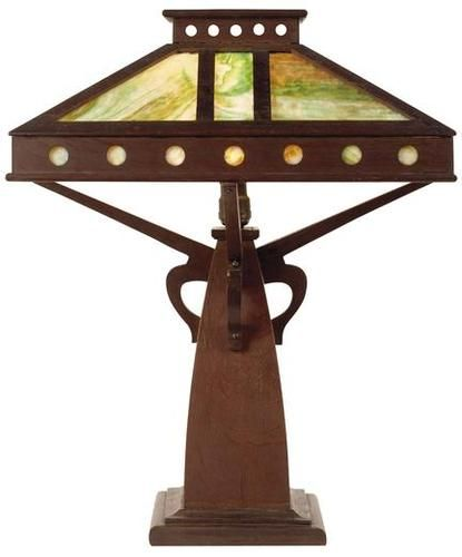 PETERSON ART FURNITURE, Arts And Crafts Oak Lamp With Four Slag Glass  Panels, Shade