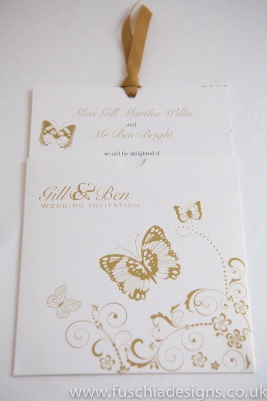 Wedding stationery. Wallet butterfly wedding invite. www.fuschiadesigns.co.uk