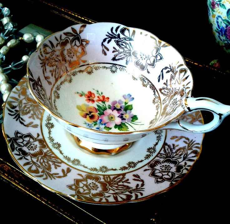 Royal Stafford Pink Gold Chintz Teacup & Saucer Flower Wide Mouth Tea Cup Set | Antiques, Decorative Arts, Ceramics & Porcelain | eBay!