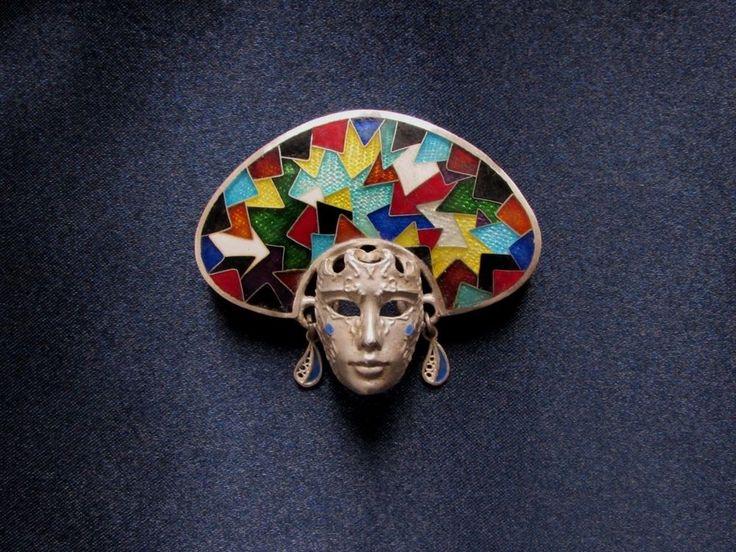 Cloisonne Enamel Pin Brooch Venetian Mask Carnival Jewellery  #Handmade #Venetian