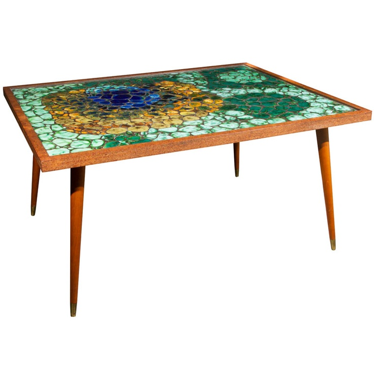 Mosaic tile top coffee table cocktails furniture and for Tile coffee table