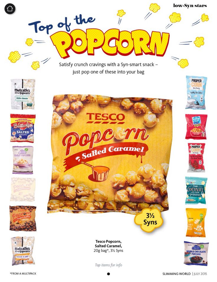 Tesco salted caramel popcorn 20g bag, 3 1/2 syns . Slimming World magazine July 2015