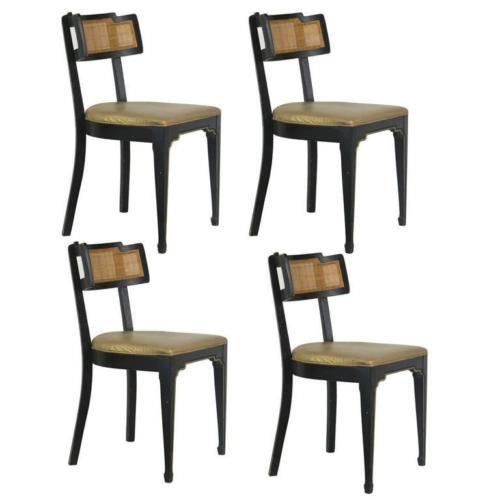 Stylish Edward Wormley Curve Dunbar Chairs, Set 4 with Provenance