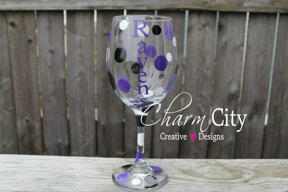 Baltimore Ravens Wine Glass 20 oz personalized football Super Bowl gifts  on Etsy, $12.00