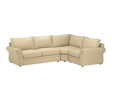 Pearce Upholstered Left 3 Piece Corner Wedge Sectional, Down Blend Wrapped  Cushions, Performance. Pottery Barn ... Part 83