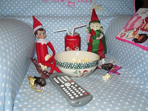 Elf On The Shelf- hanging out with a movie: Christmas Elf, Elf Movie, Elf On Shelf, Elfin Magic, Movie Dates, Shelf Ideas, Movie Nights, Elf On The Shelf, Movie Time