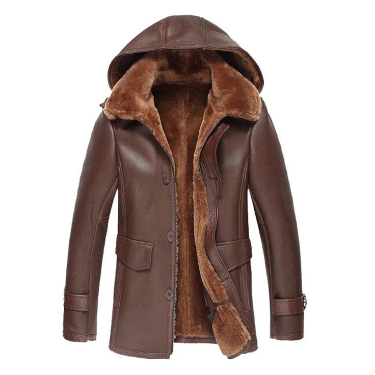Men's Shearling Jacket Removable Hooded Coat Men Lapel Fur Outerwear Mens Leather Jacket Genuine Leather Mens Jacket