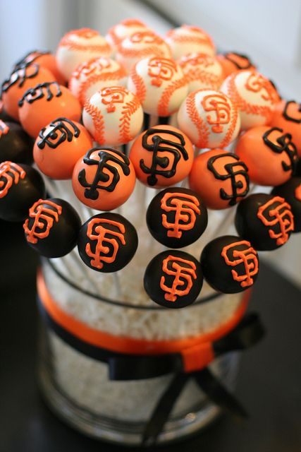 SF Giants Cake Pop Display by Sweet Lauren Cakes, via Flickr