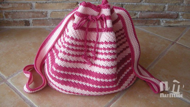 Crochet backpack,crochet rucksack,crochet bag, pink and fuchsia crochet backpack by NatmadeCrafts on Etsy