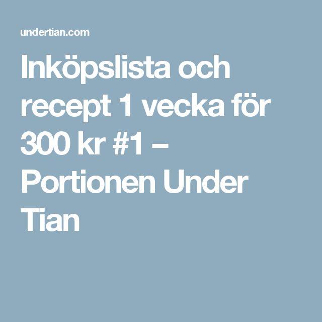 Inköpslista och recept 1 vecka för 300 kr #1 – Portionen Under Tian