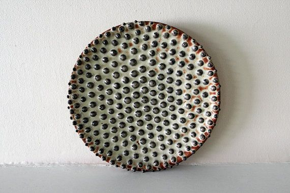 """Hand-Thrown, Rustic, Stoneware Plate with Large Raised Dots / """"BLUEBERRY HOBNAIL"""". $140.00, via Etsy."""