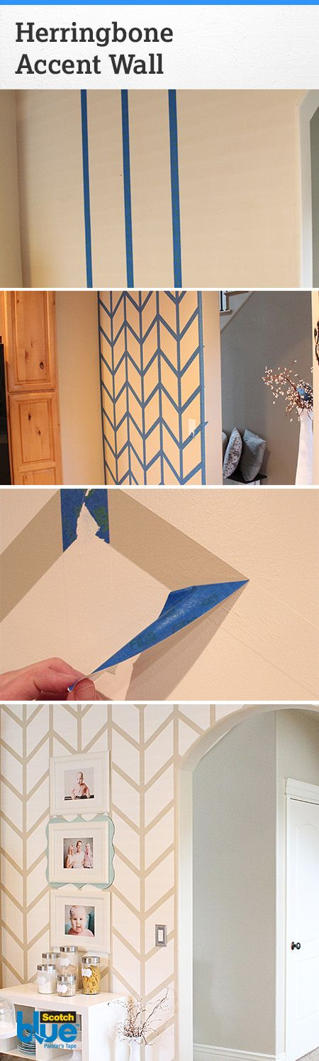 Weekend Project: Master the Straight Line.  Learn how to tape and paint the straightest of lines by recreating Thrifty & Chic's stunning painted herringbone pattern.