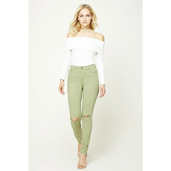 Forever21 Skinny Jeans ($16) ❤ liked on Polyvore featuring jeans, olive, skinny fit jeans, skinny leg jeans, zipper jeans, white denim skinny jeans and olive green skinny jeans