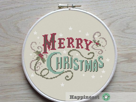 christmas cross stitch pattern, merry christmas, vintage, modern cross stitch, PDF, ** instant download**