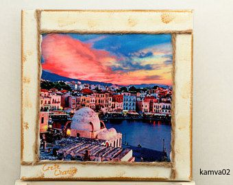 Wall frame, cotton camvas panel 20x20, with dreaming places of Crete in Greece. Decoupage techic,hand made.