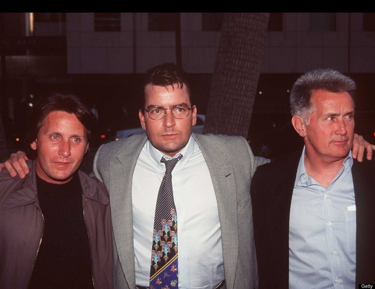 Emilio Estevez & Charlie Sheen (pictured with dad Martin Sheen, far right)