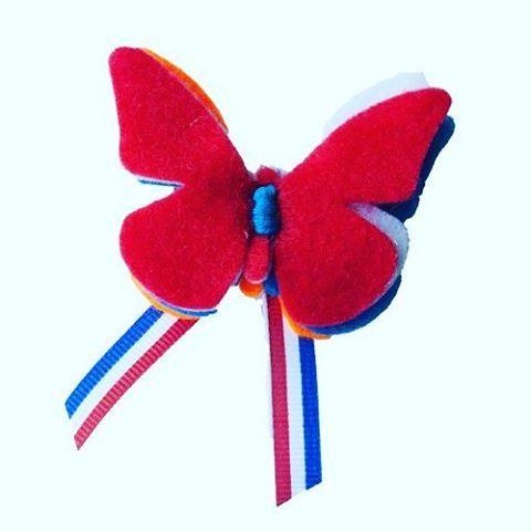 Dutch butterfly  #hip #koningsdag #koningsspelen #meiden #haaraccessoires #haarspeld #haar #kinderen #vilt #vlinder #hipenhaar