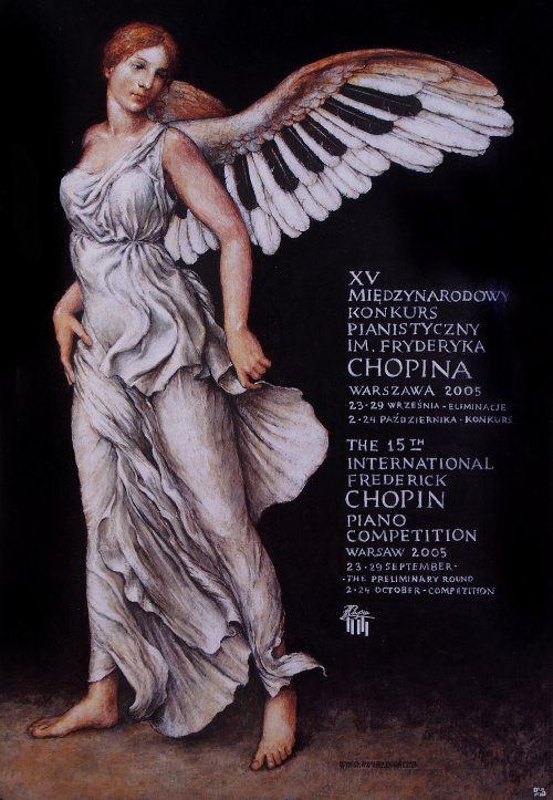 15th International Frederick Chopin Piano Competition,   Original Polish poster,   designer: Wieslaw Grzegorczyk,   year: 2005.