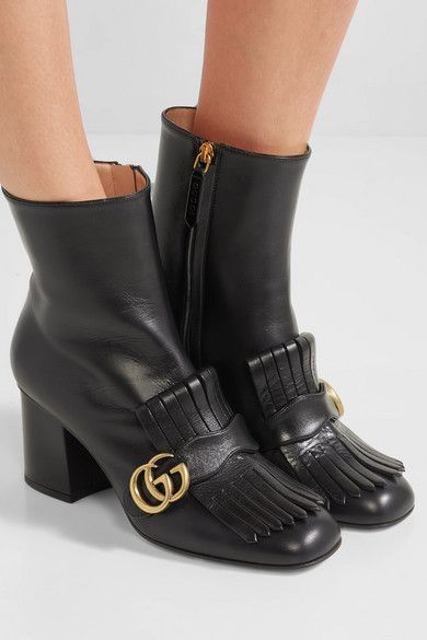 a2cde2fa04f8 Gucci | Marmont fringed logo-embellished leather ankle boots |  NET-A-PORTER.COM