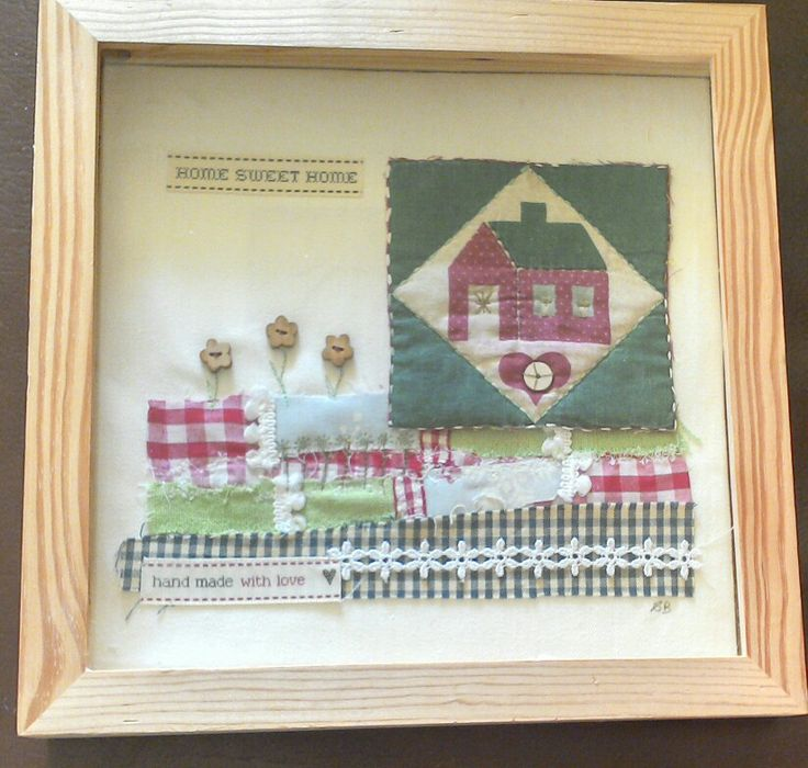 Home sweet home picture made with scraps of fabric by Sarah Boyd