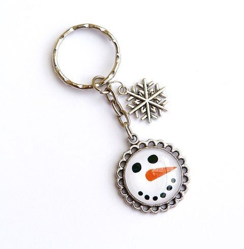 Hóemberke - üveglencsés kulcstartó , Mindenmás, Kulcstartó, Meska