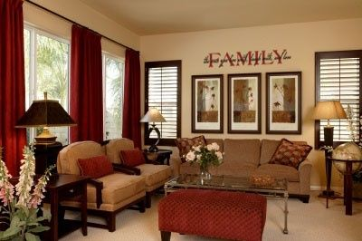 LIVING ROOM: Tan, Black, Brown, Red...love it!